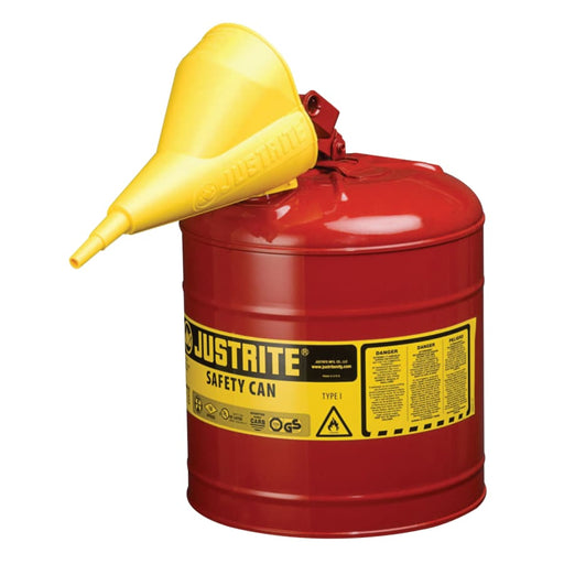 Justrite Type I Safety Can, Flammables, 2.5 gal - 7125100
