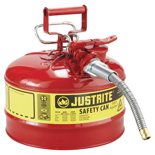 Justrite Type II AccuFlow Safety Can, Flammables, 2.5 gal - 7225120