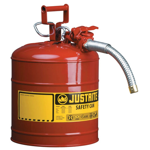 "Justrite Type II AccuFlow Safety Can w/ Flame Arrestor & 1"" Hose, Flammables, 2.5 gal- 7225130"