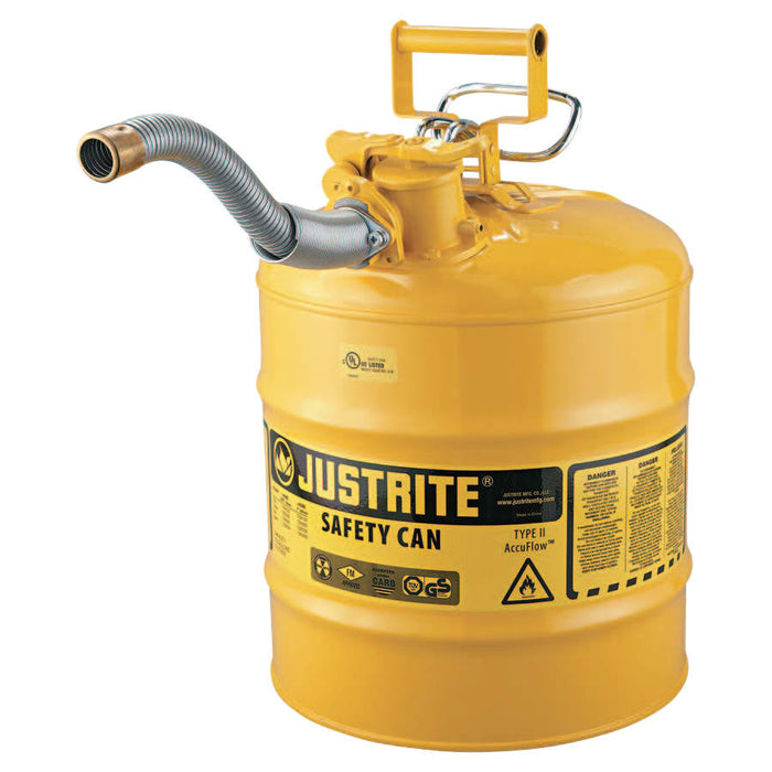 "Justrite Type II AccuFlow Safety Can w/ 1"" Hose, Diesel, 5 gal - 7250230"