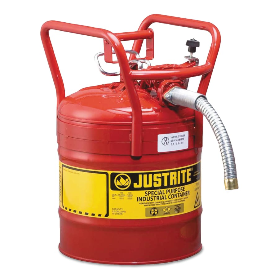 Justrite Type II AccuFlow DOT Safety Cans, Flammables, 5 gal - 10840