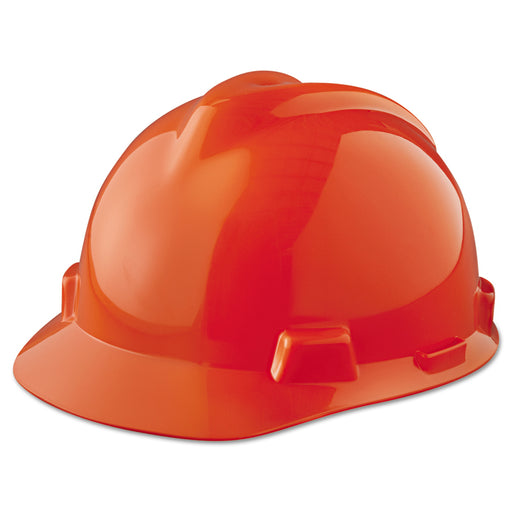 MSA V-Gard Orange Hard Hat w/ Fas-Trac III Suspension, Slotted - 475361