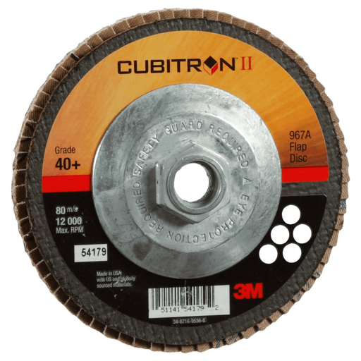 3M(TM) Cubitron II Flap Disc 967A, T27 4-1/2 in x 7/8 in, 10/case - 967A