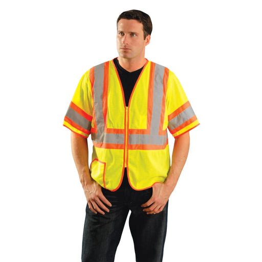OccuNomix Class 3 Mesh Vests with Silver Reflective Tape, Hi-Viz Yellow - LUX-HSCLC3Z-Y