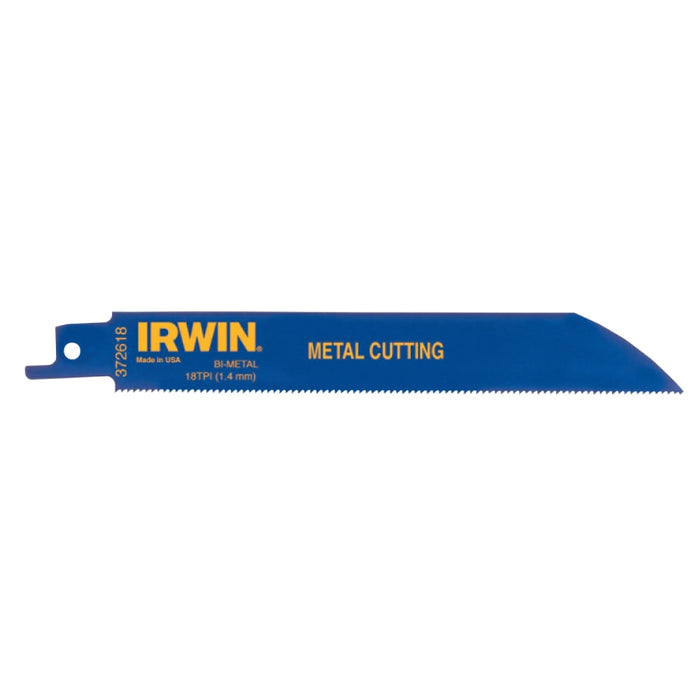 "Irwin Reciprocating Saw Blade 6"" x 3/4"", 18 TPI, 5/pk - 372618"