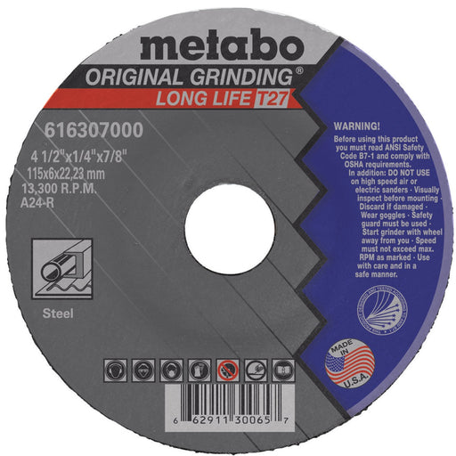 "Metabo Type 27 Original Grinding Wheel, 4.5"" x .25"" x 7/8"", 25/pk - 616307000"