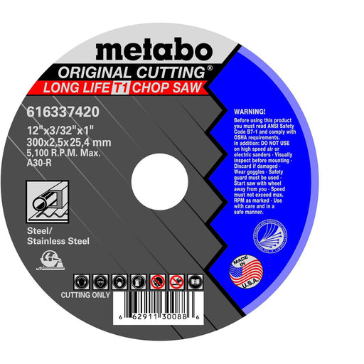 Metabo LongLife Orginal Cutting Wheel, Type 1, A30R, 10/pk