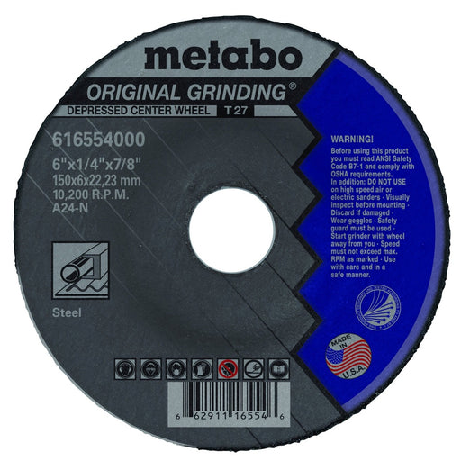 "Metabo Type 27 Original Grinding Wheel, 6"" x 1/4"", 25/pk - 616554000"