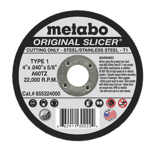 Metabo Type 1 ORIGINAL Cutting Wheels 4x.040x5/8 - 10/pk - 655324000