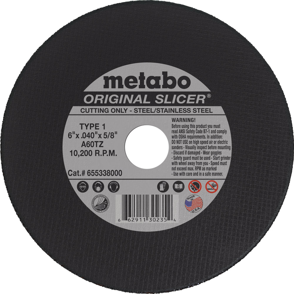 Metabo Type 1 ORIGINAL Cutting Wheels 6x.040x5/8, 10/pk - 655338000