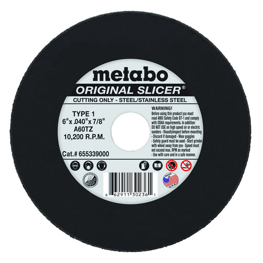 Metabo Type 1 ORIGINAL Cutting Wheels 6x.040x7/8, 10/pk - 655339000