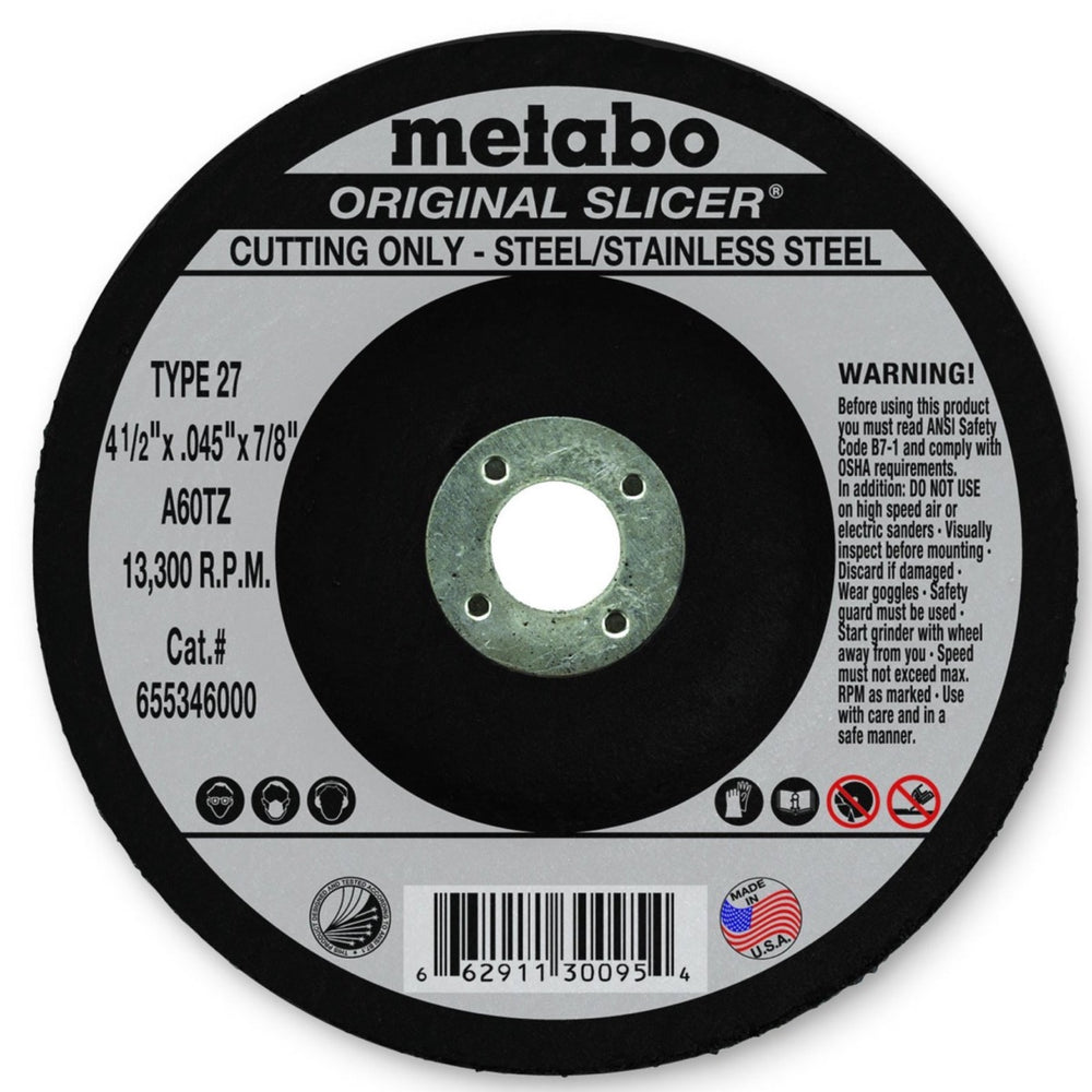 Metabo Type 27 ORIGINAL Cutting Wheels 4.5x.045x7/8, 10/pk - 655346000