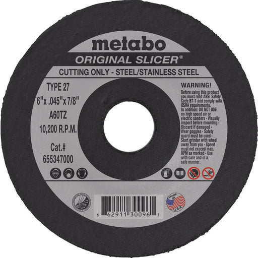 Metabo Type 27 Original Cutting Wheels 6x.045x7/8, 10/pk - 655347000