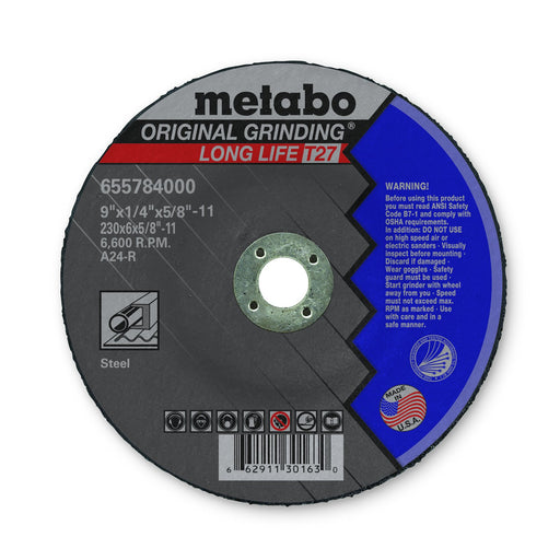 "Metabo grinding wheel - 9"" x 1/4"" x 5/8"" - Box of 10 - 655784000"