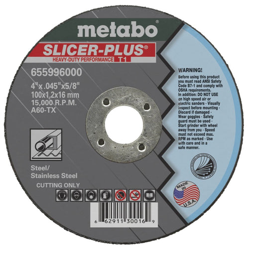 Metabo Type 1 SLICER-PLUS Cutting Wheels 4x.045x5/8 10/Box - 655996000