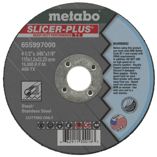 Metabo Type 1 SLICER+ High Cut Wheels 4-1/2x.045x7/8 10/bx - 655997000