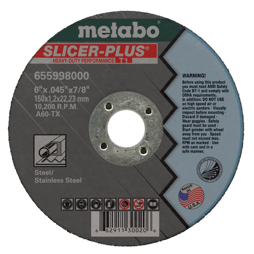 Metabo Type 1 SLICER-PLUS Cutting Wheels 6x.045x7/8 10/Box - 655998000