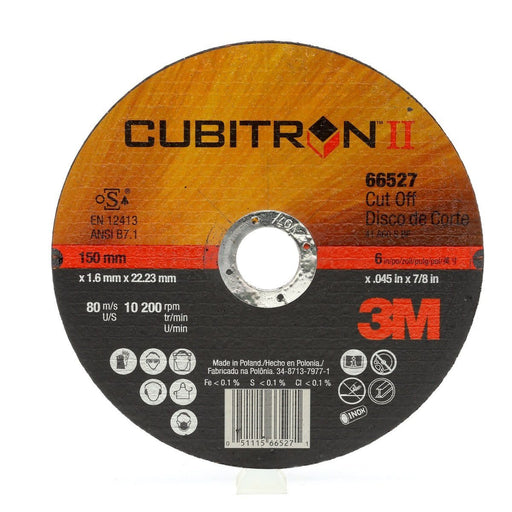 3M Cubitron II Cut-Off Wheel T1 6 x .045 x 7/8 50/case - 66527