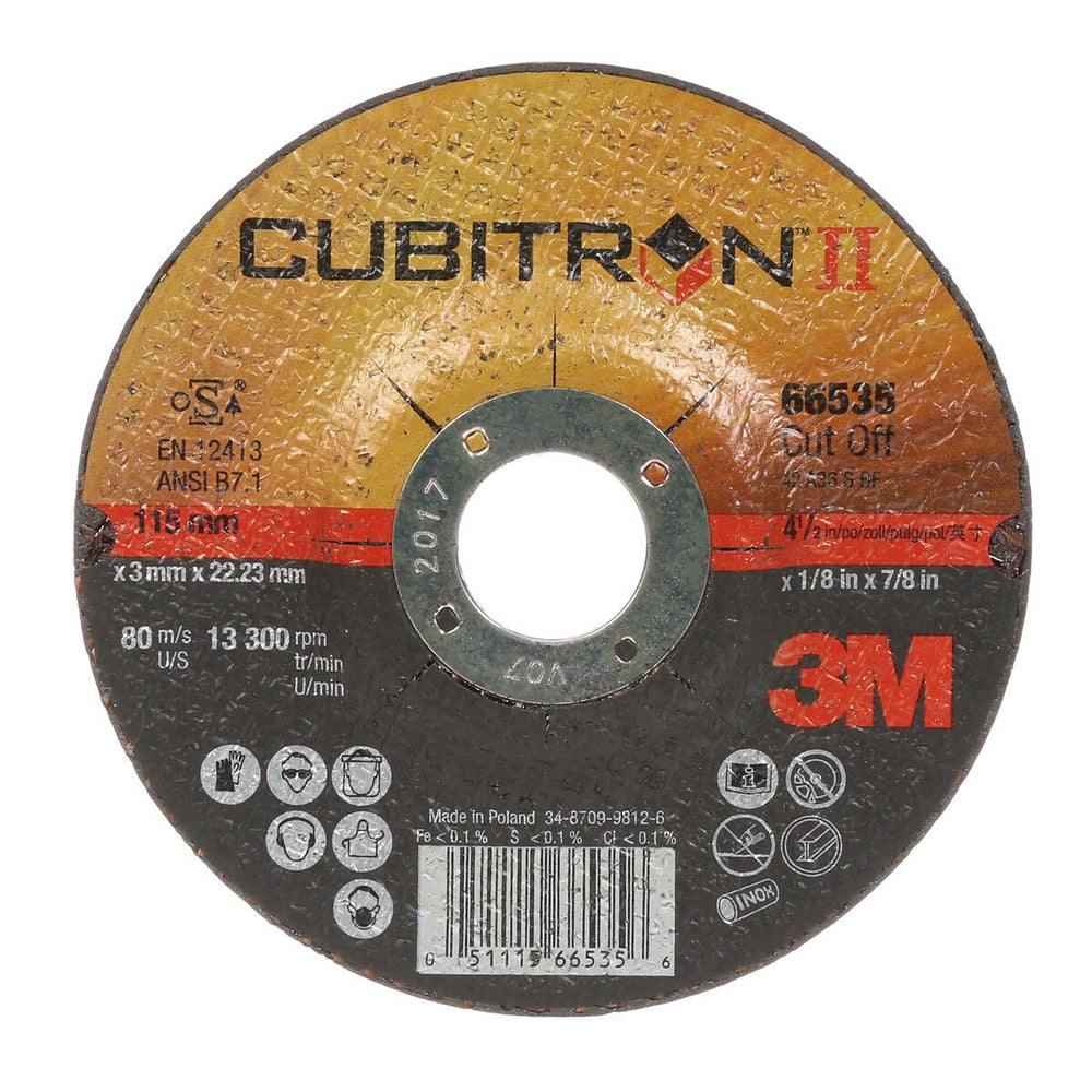 3M Cubitron II Cut-Off Wheel T27 4.5 x .125 x 7/8 50/case - 66535