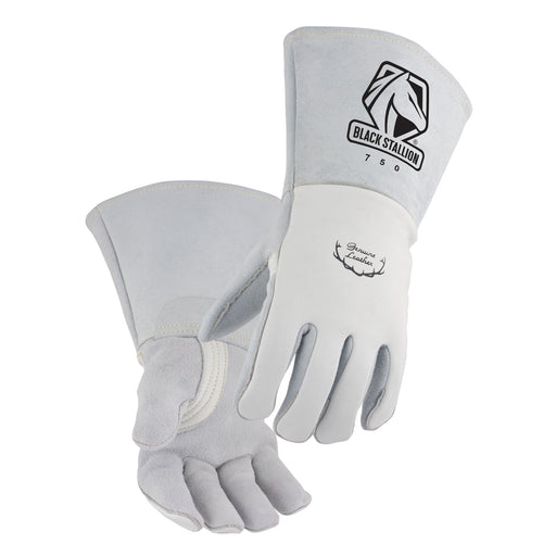 Black Stallion Pearl White Elkskin Stick Glove w/ Nomex Lined Back - 750