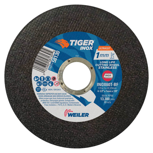 "Weiler Tiger INOX Ultracut Thin Cutting Wheel, 7/8"" Arbor, 50/pk"