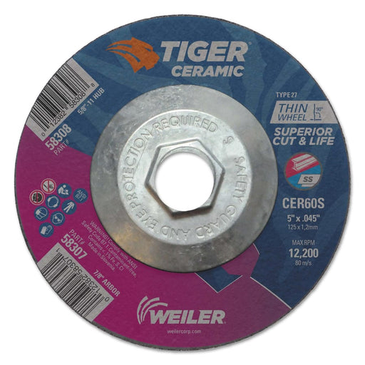"Weiler Tiger Ceramic Alumina Cutting Wheels, Type 27, 5/8-11"" Hub, 10/pk"