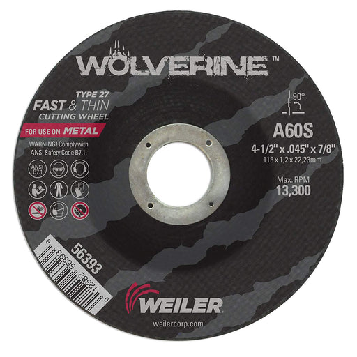 "Weiler Wolverine Thin Cut-Off Wheel, 4.5"" x .045"" x 7/8"", Type 27 - 56393"