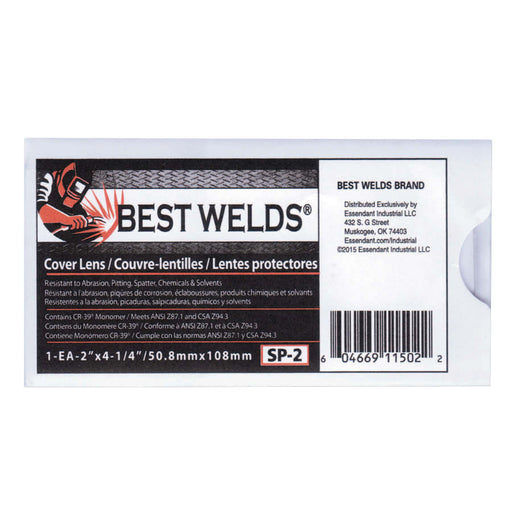 "Best Welds Cover Lens, 2"" x 4.25"", 100% CR-3, 10/pk - SP-2"