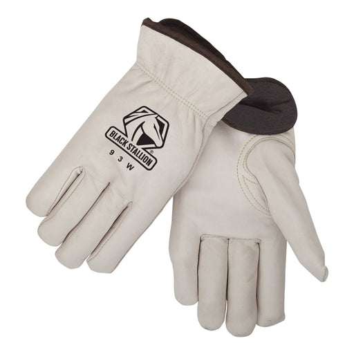 Black Stallion Grain Cowhide Fleece Insulated Driving Gloves - 93W