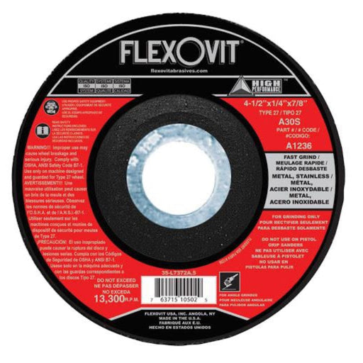"Flexovit Grinding Wheel, 4.5"" x 1/4"" x 7/8"", Type 27, 10/pk - A1236"