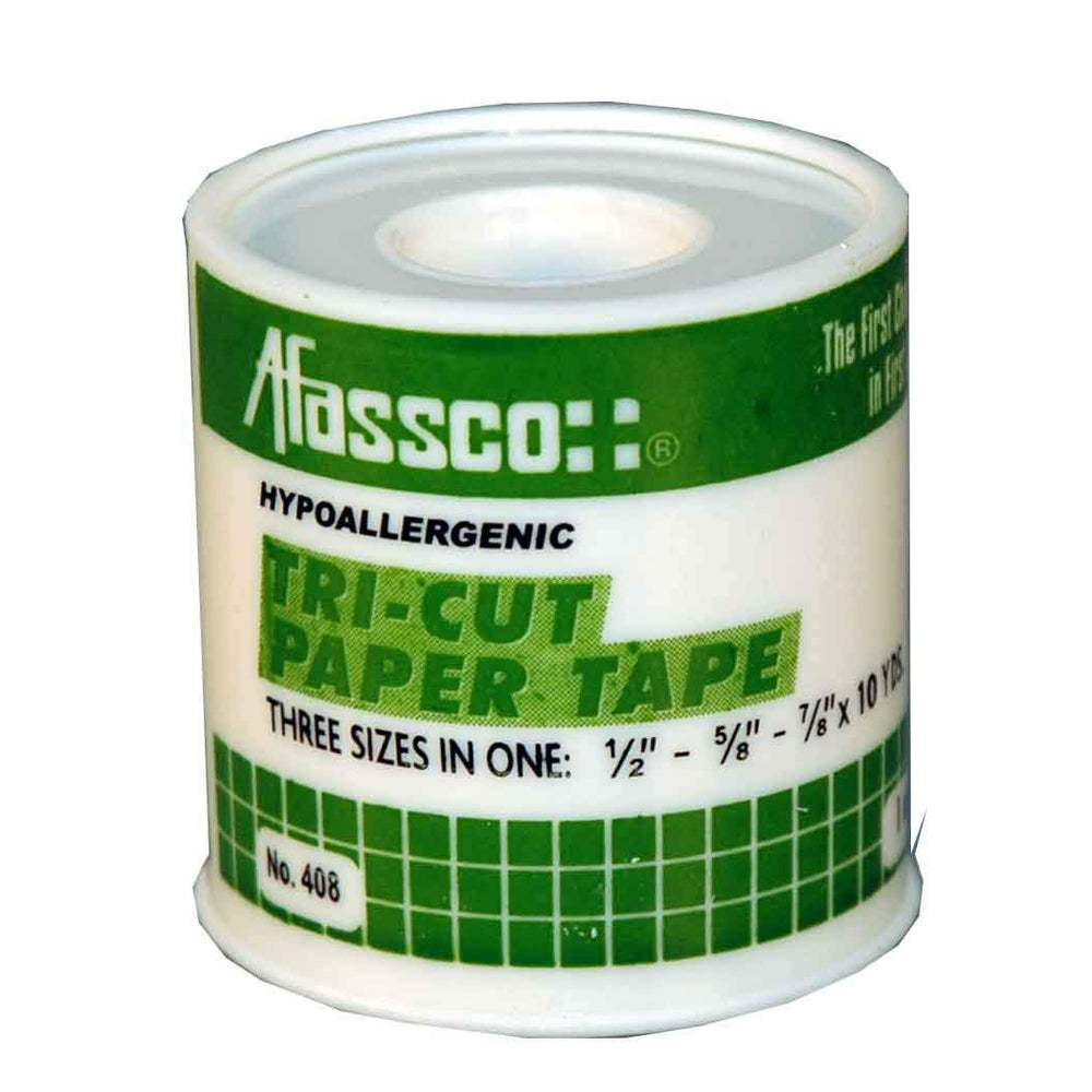 "Afassco Tape, Hypo-Allergenic, Tri-cut, Paper 1/2"", 5/8"", 7/8"" x 10 yd. (Adhesive) - 408"