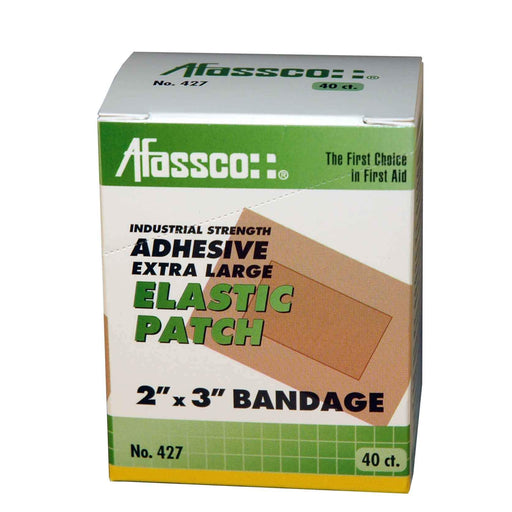 "Afassco Patch, X-Lg., 2"" x 3"", Industrial Strength, Adh. Elastic - 40 bandages/box - 427"