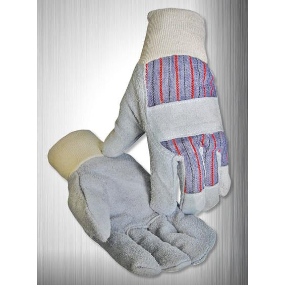 Caiman Leather Palm Gloves, Knuckle Strap, Knit Wrist - 12/pk - 1202