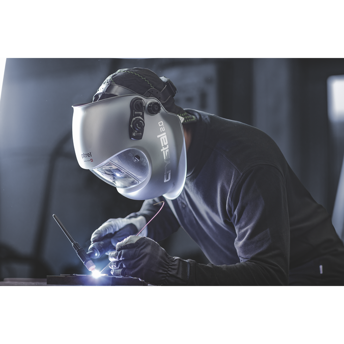 A welder TIG welding with the Optrel Crystal 2.0