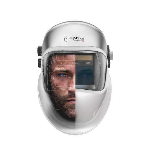man wearing the Optrel Crystal 2.0 welding helmet