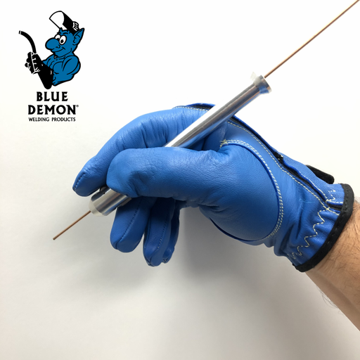 a welder using the Blue Demon Dab Pen to feed TIG Rod