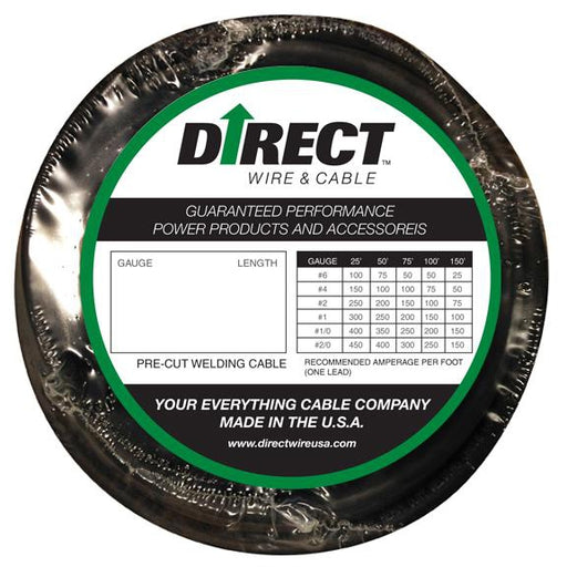 Direct Wire 2/0 Flex-A-Prene Welding Cable - 25 Feet - F_2/0_25