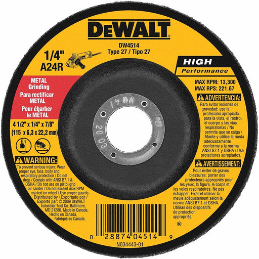 "Dewalt Type 27 HP Metal Grinding Wheels, 4.5"" x 7/8"", 25/pk - DW4514"