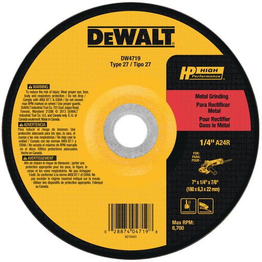"Dewalt HP Metal Type 27 Grinding Wheels, 4"" x 5/8-11"", 25/pk  - DW4719"