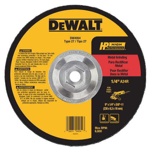 "Dewalt HP Metal Type 27 Grinding Wheels, 9"" x 1/4"" x 5/8-11"", 10/pk - DW4954"