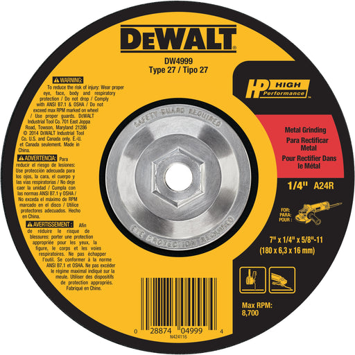 "Dewalt HP Metal Type 27 Grinding Wheels, 7"" x 1/4"" x 5/8-11"", 10/pk - DW4999"