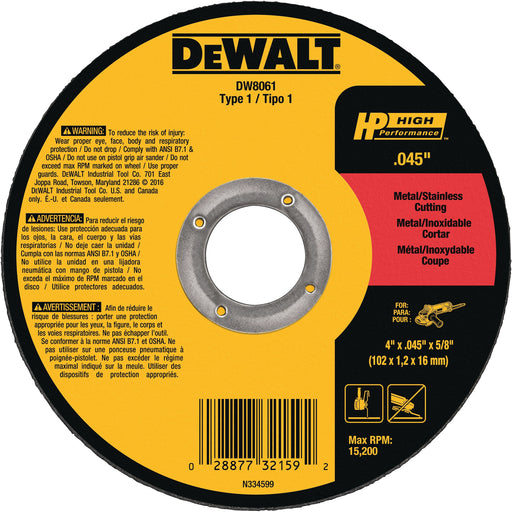 "Dewalt cut-off wheel - Type 1 - 4"" x .045"" x 5/8"" - 25/box - DW8061"