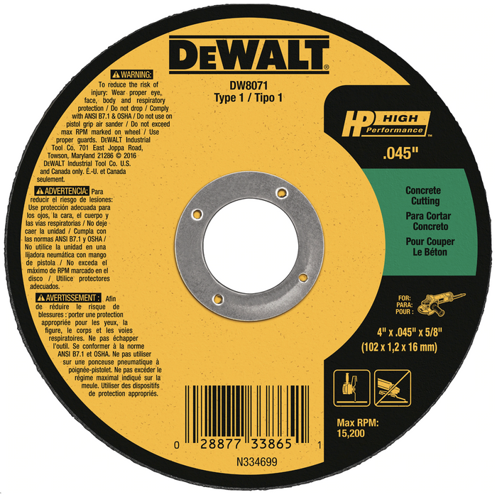 "Dewalt Concrete cut-off wheel Type 1 4-1/2""x.045""x7/8"" 25/box - DW8072"