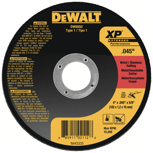 "Dewalt cut-off wheel - Type 1 - 5"" x .045"" x 7/8 - 25/box - DW8852"