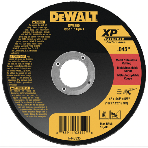 "Dewalt cut-off wheel - Type 1 - 6"" x .045"" x 7/8"" - 25/box - DW8853"