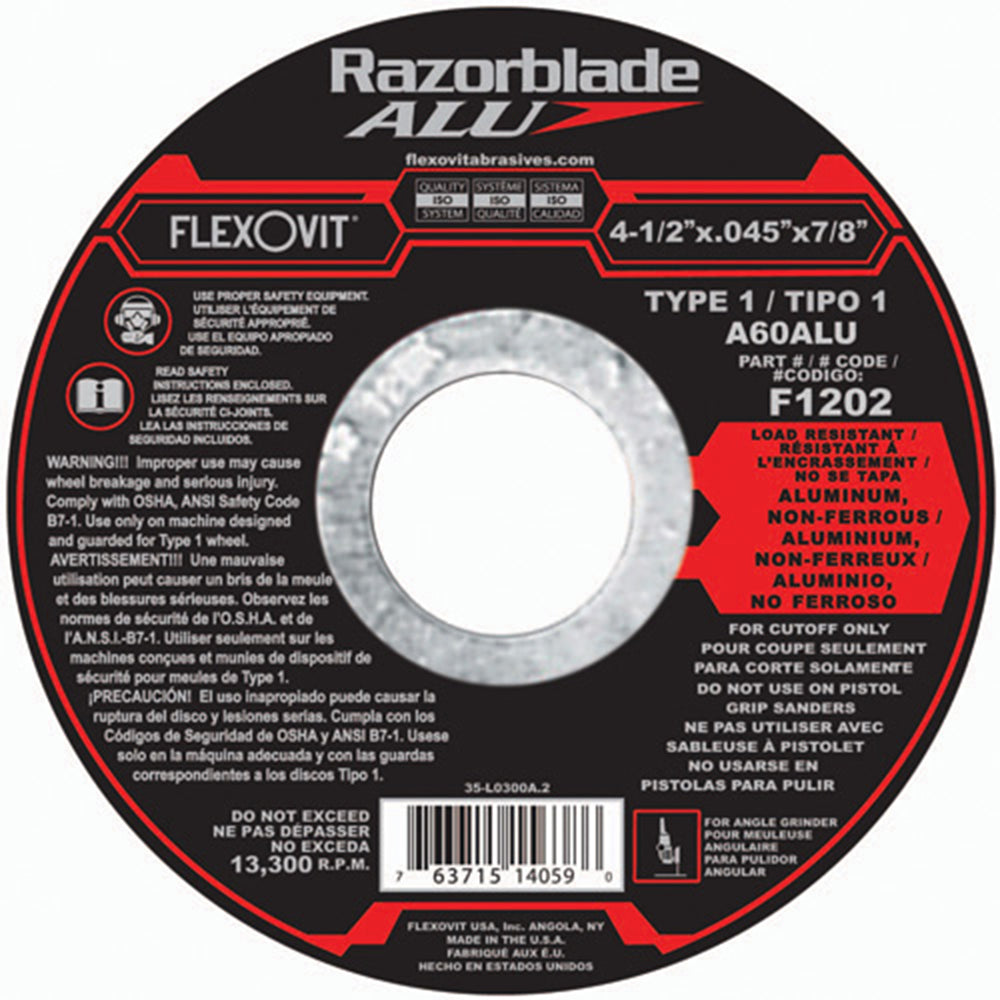 Flexovit cut-off wheel Type 1 - 4-1/2 X .045 X 7/8 - AL 10/box - F1202