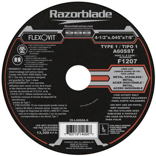 Flexovit cut-off wheel Type 1 - 4-1/2 X .045 X 7/8 SS Box of 10 - F1207