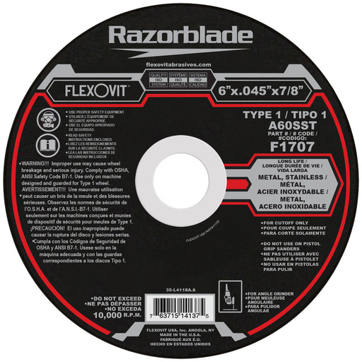 Flexovit cut-off wheel - Type 1 - 6 X .045 X 7/8 SS 10/box - F1707