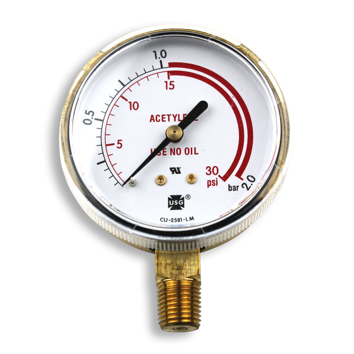 "Smith 2.5"" Pressure Gauge, 30 PSI/Bar Red Zone - GA026-07"
