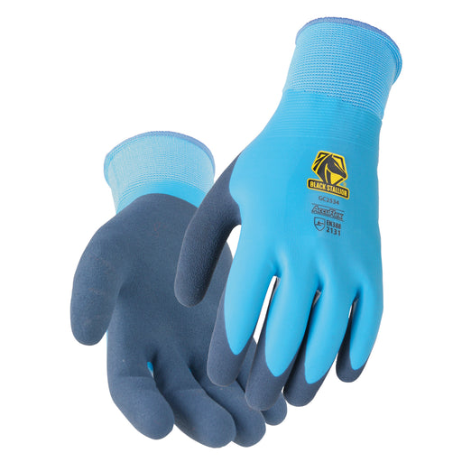 Black Stallion AccuFlex Water Repellant Double Latex Knit Glove - GC2534-BL
